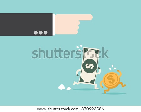 Command money working for you. Flat design for business financial marketing banking advertisement office people property in minimal concept cartoon illustration. - stock vector