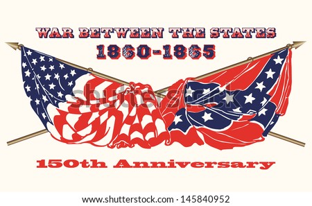 Commemorating the 150th Anniversary of the U.S.Civil War: flags of the North and South - stock vector