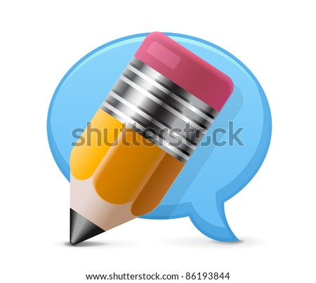 Comment writing icon - stock vector