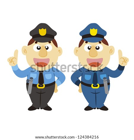 commentary by a funny cartoon policeman, two colors, vector