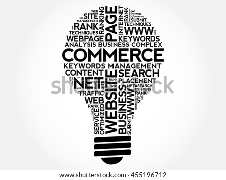 COMMERCE bulb word cloud collage, business concept background - stock vector