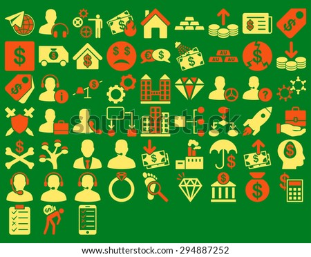 Commerce Icon Set. These flat bicolor icons use orange and yellow colors. Vector images are isolated on a green background.  - stock vector