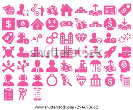 Commerce Icon Set. These flat icons use pink color. Vector images are isolated on a white background.  - stock vector