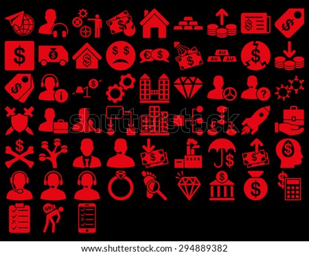 Commerce Icon Set. These flat icons use red color. Vector images are isolated on a black background.  - stock vector
