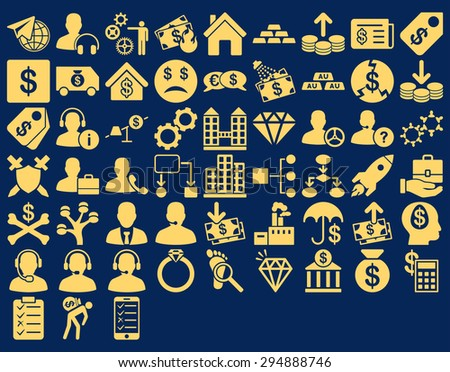 Commerce Icon Set. These flat icons use yellow color. Vector images are isolated on a blue background.  - stock vector