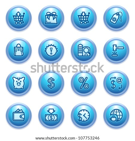 Commerce icons on blue buttons.