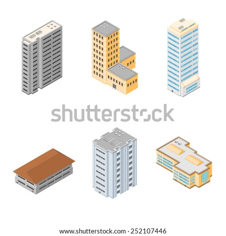 Commercial and residential buildings. Isometric Buildings. Generic Isometric Buildings. - stock vector
