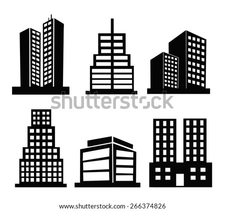 Commercial Building black and white set icons - stock vector