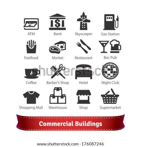 Commercial Buildings Icon Set. Business, Commerce, Food, Recreation and Trading Signs. For Use With Maps and Internet Services Interfaces. - stock vector