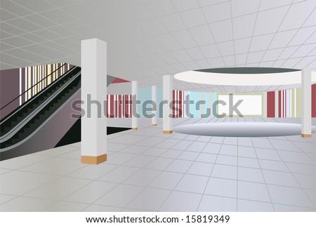 commercial center interior vector - stock vector