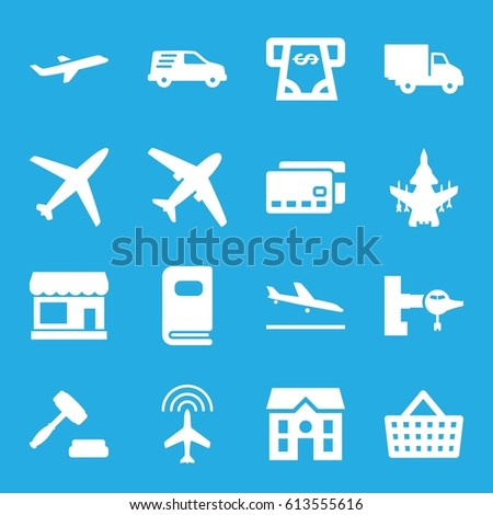 Commercial icons set. set of 16 commercial filled icons such as plane, plane landing, store, jetway, ATM money withdraw, house, delivery car, photo album, auction
