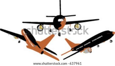 commercial jet vector set - stock vector