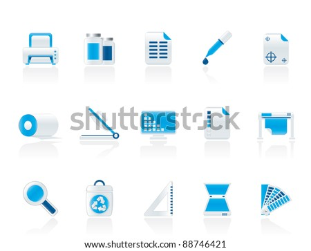 Commercial print icons - vector icon set - stock vector