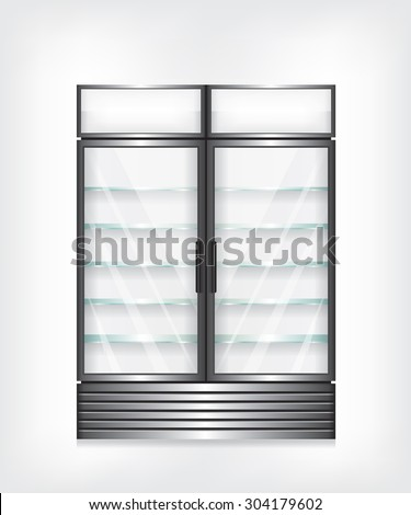 Commercial refrigerator with two door and glass shelves - stock vector