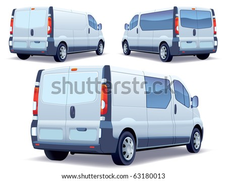 Commercial vehicle - delivery van on white background. - stock vector