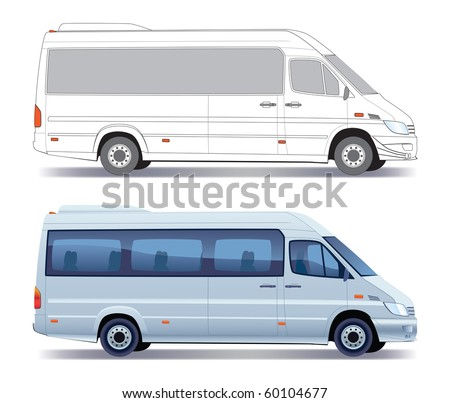 Commercial vehicle - silver passenger minibus - colored and layout - stock vector