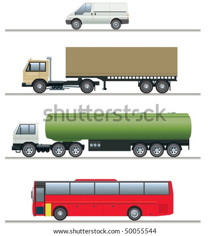Commercial vehicles elevations - stock vector