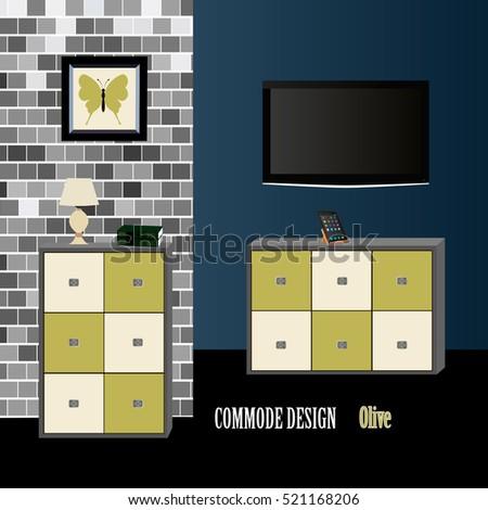 Commode Design Olive Iconinterior Room Furniture Symbol Vector Illustration