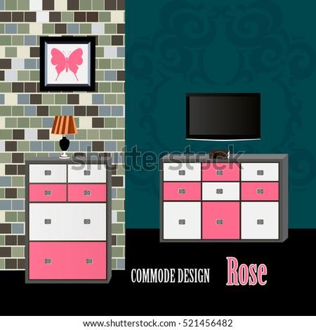 Commode Design Rose Icon Interior Room Furniture Symbol Vector Illustration