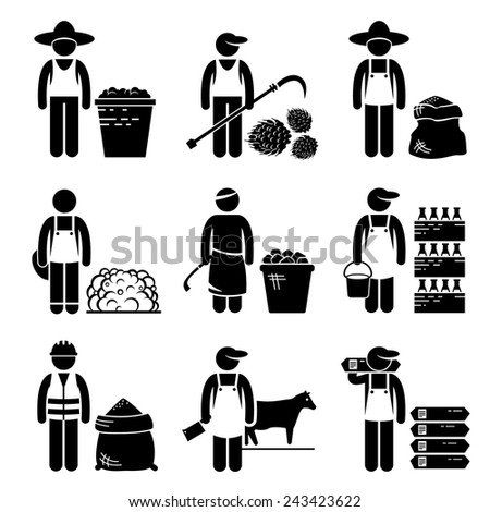 Commodities Food Agricultural Grains Meat Stick Figure Pictogram Icons - stock vector