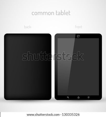 Common Black tablet front and back view - stock vector