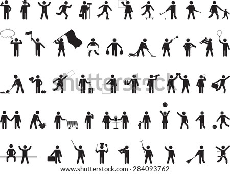 Common pictogram people activities isolated on white - stock vector