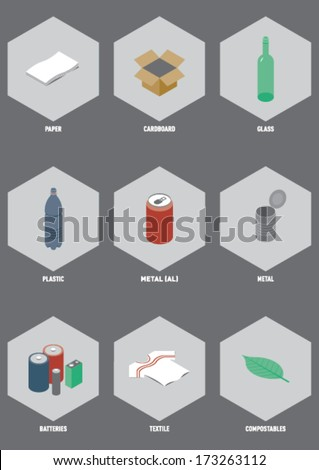 Common Recyclable Materials. Isometric illustration set of the most common recyclable consumer waste. - stock vector