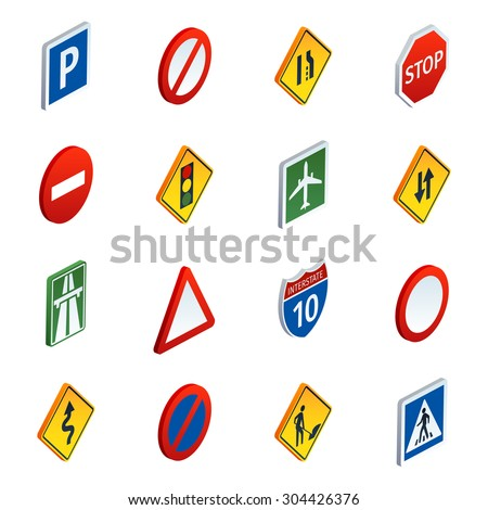 Common road traffic regulatory and warning signs symbols to learn  isometric icons set abstract vector illustration - stock vector