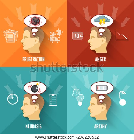 Common work related stress disorders and apathy 4 flat icons square composition banner abstract isolated vector illustration - stock vector