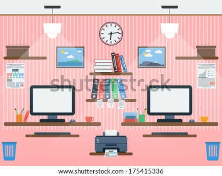Common workspace flat vector illustration - stock vector