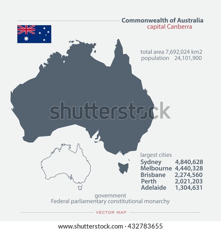 commonwealth australia isolated maps official flag stock vector 432783655 shutterstock
