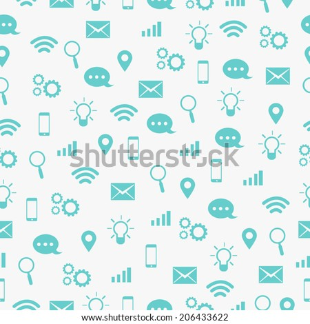 Communicate Icon Seamless Pattern - stock vector