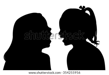 communicating girls silhouette vector