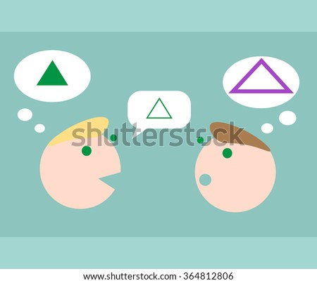 communicating people, misunderstanting - stock vector