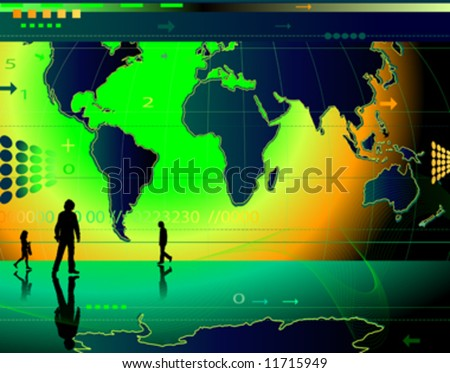 communication; abstract design background with people, world map, digits, arrows, waves