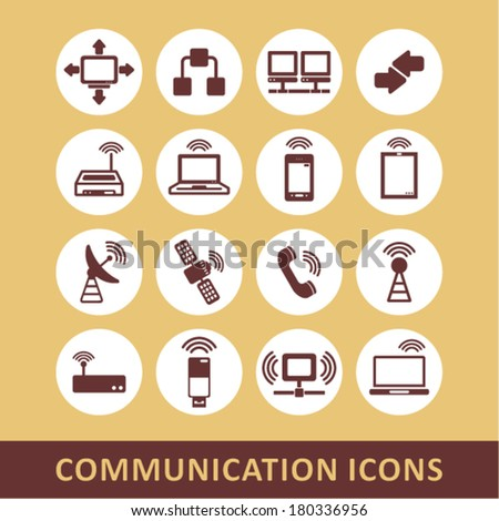 Communication and connection icons - stock vector