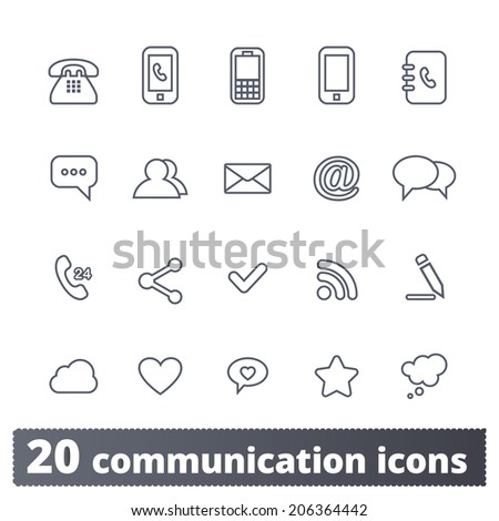 Communication and media icons: internet vector set for web and applications - stock vector