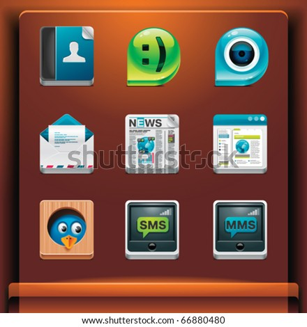 Communication and social networking. Mobile devices apps/services icons. Part 2 of 12 - stock vector