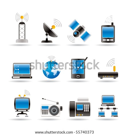 communication and technology icons - vector icon set - stock vector