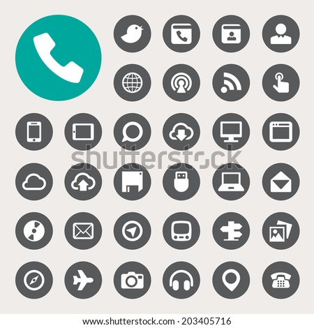 Communication and transportaion icon set .Illustration eps10 - stock vector