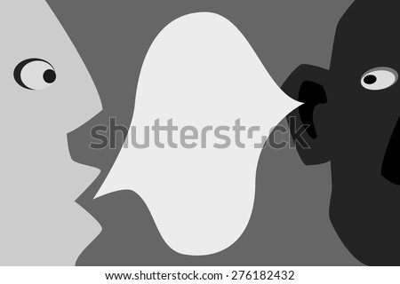 communication between two friends the two halves of the face and In the middle of the speech bubble. I'm telling you . - stock vector