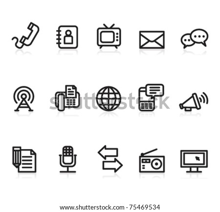 communication black and white icons set