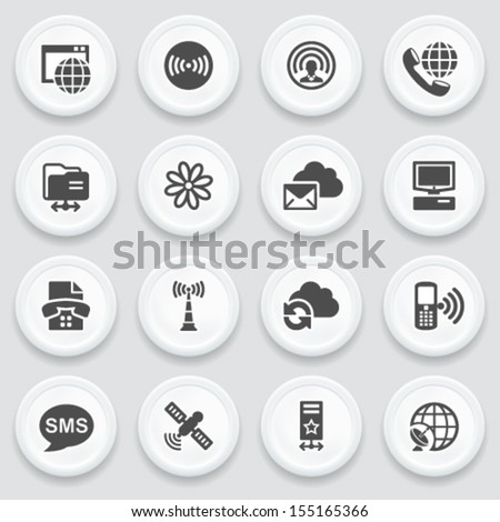 Communication black icons on with buttons. - stock vector