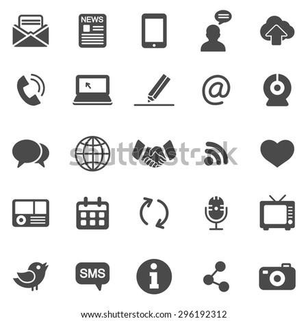 Communication black icons set.Vector - stock vector