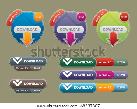 communication box for download and buttons to interface websites - stock vector
