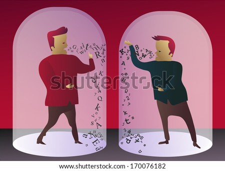 Communication breakdown: two men trying to communicate, can't understand each other - stock vector