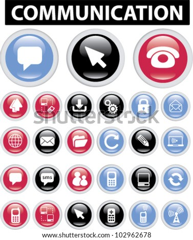 communication buttons & icons set, vector