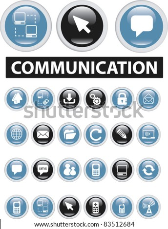 communication buttons, icons, signs, vector - stock vector