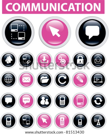 communication buttons, icons, signs, vector set - stock vector