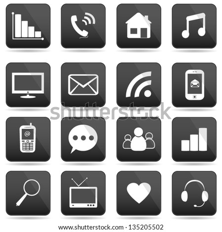 Communication buttons set, e-mail icons. - stock vector